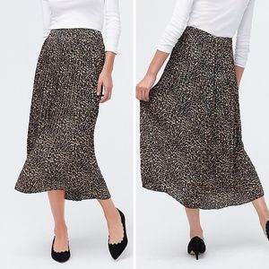 J. Crew Leopard Print Pleated Midi Skirt